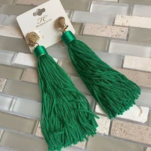 NWT Green Fringe Drop Stud Statement Earrings